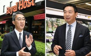ロイヤルHDの菊地唯夫会長(左)とサミットの竹野浩樹社長