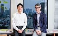 北川烈CEO(左)と長島聡社長