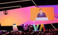 イノベーション系イベント「ビバテクノロジー」で講演するマクロン仏大統領