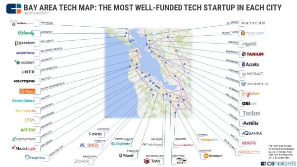 ベイエリアのテック新興企業マップ:各市で最も資金調達額の多いテクノロジー分野のスタートアップ企業