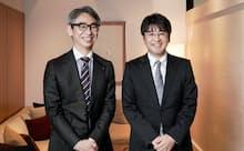 ?#21830;?#27915;祐FA?ロボット事業部技術部製品企画室室長(右)と長島聡社長