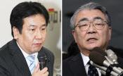 枝野経産相(左)と東電の西沢社長