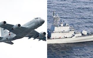 海上自衛隊のP1哨戒機(左)と韓国海軍の駆逐艦(駆逐艦は防衛省提供)=共同
