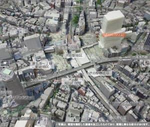 渋谷駅周辺の現状の街並みイメージを、南側上空から見たところ(資料:渋谷区、以下同様)