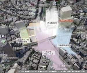 渋谷駅周辺の将来の街並みイメージを、南側上空から見たところ。新駅ビル西棟は容積率や高さが現時点で流動的であり、ぼんやりと描いている