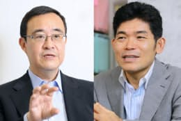 経済財政諮問会議の民間議員になる竹森俊平氏(左)と柳川範之氏