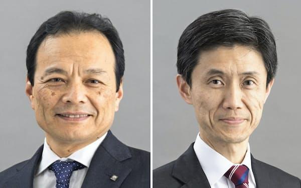 東京海上HDの社長に就く小宮暁氏(左)と、東京海上日動火災保険の社長に就く広瀬伸一氏
