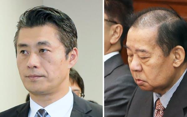 二階俊事長(右)は31日に予定する派閥総会で細野氏の二階派入りを了承する意向