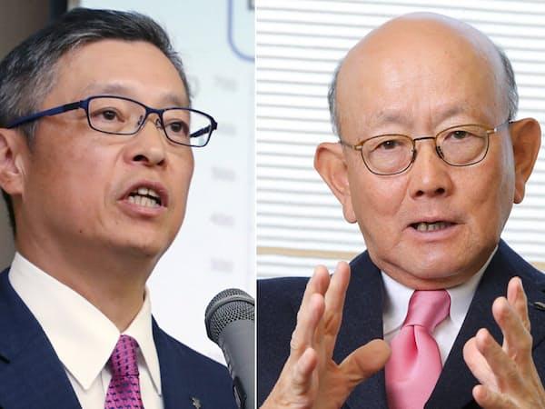 デサントの石本社長(左)と伊藤忠の岡藤会長