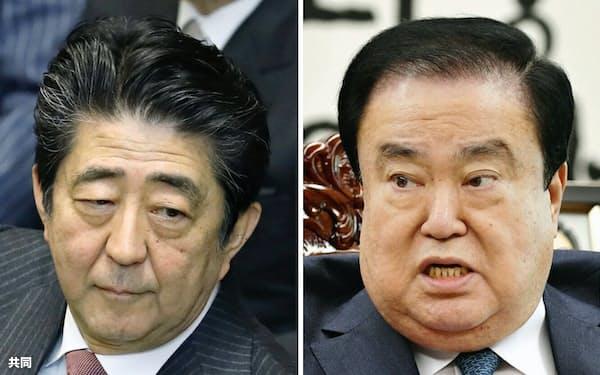 韓国国会の文喜相(ムン・ヒサン)議長(右)の慰安婦問題をめぐる発言に「謝罪と撤回を求めた」と答弁した安倍首相=共同