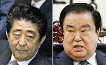 韓国国会の文喜相(ムン・ヒサン)議長(右)は、慰安婦問題をめぐる自身の発言に安倍首相が反発していることに「到底理解できない」と語った=共同