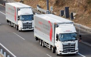 後続車無人を想定したトラックの隊列走行は、新東名高速道路の浜松サービスエリア(SA)から遠州森町パーキングエリア(PA)間の上下線で19年1月22日~2月28日に実施(出所:豊田通商)