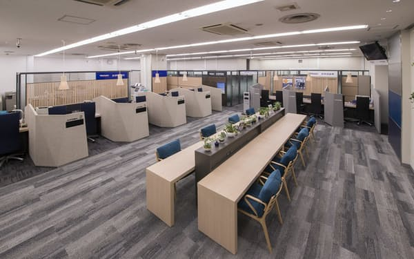 「グループのブースが並ぶみずほ銀行の吉祥寺支店