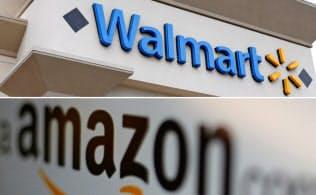 ウォルマートとアマゾンは互いの本丸である店舗やネット通販で激しく競い合っている=ロイター