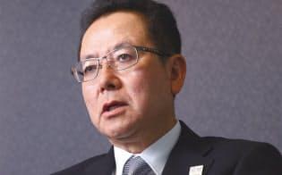 富士通の田中達也社長は18年12月に日経コンピュータの取材に応じた(写真:陶山勉)