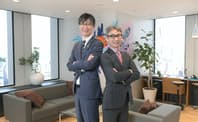 島田太郎?東芝執行役待遇コーポレートデジタル事業責任者(左)と長島聡社長