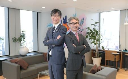 島田太郎・東芝執行役待遇コーポレートデジタル事業責任者(左)と長島聡社長