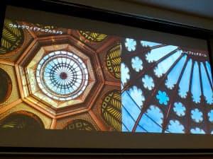 超広角レンズ(左)と10倍ハイブリッドズーム(右)の比較(撮影:山口健太)