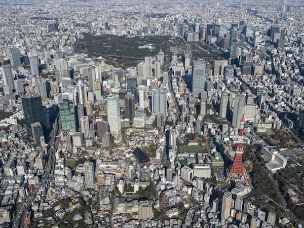 虎ノ門・麻布台周辺~皇居、大手町方向を望む空撮(写真:ITイメージング)