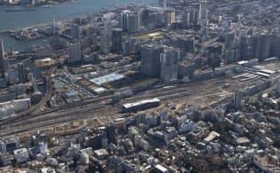 高輪、品川駅周辺~芝浦港南方向を望む空撮(写真:ITイメージング)