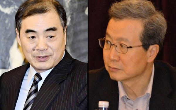 「知日派」の切り札として駐日大使に起用される孔鉉佑外務次官=左(共同)=と、退任する程永華大使