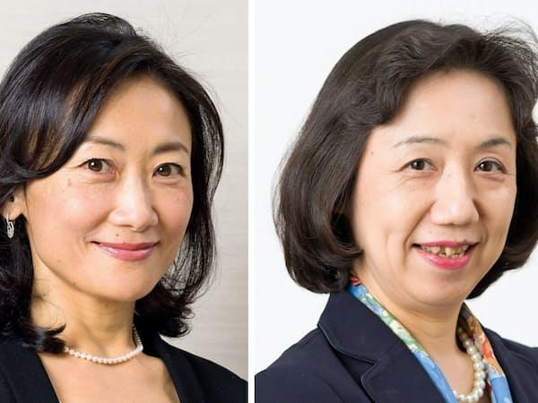 メリルリンチ日本証券社長に就く笹田珠生氏(左)と副社長に就く林礼子氏