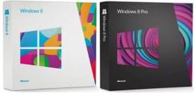 Windows 8のパッケージ画像。左が一般ユーザー向けの「Windows 8」、右がビジネス向けの「Windows 8 Pro」で、いずれもアップグレード版