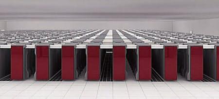 図1 理化学研究所に設置されたスーパーコンピュータ「京」  10.51PFLOPSという演算性能を誇る「京」は864台のラックで構成され、神戸市のポートアイランドにある理化学研究所計算科学研究機構に設置されている。