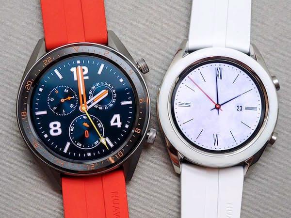 HUAWEI WATCH GT 46ミリ(左)と42ミリ(右)、(撮影:山口 健太)