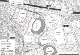 黒線で囲った部分が計画対象範囲。新競技場の敷地(赤線)と関連敷地(オレンジ線)で構成される。関連敷地内にある東京体育館や屋内プールは撤去できない(資料:日本スポーツ振興センター)