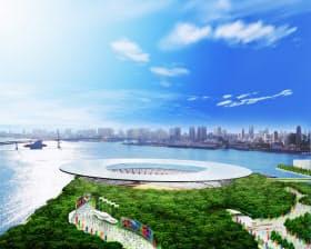 2016年夏季五輪の招致で掲げたメーンスタジアム。安藤忠雄氏が全体計画をまとめ、4万m2の屋根全面に太陽光パネルを設ける案だった(資料:東京オリンピック・パラリンピック招致委員会)