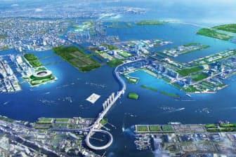 世界初の「カーボンマイナス五輪」をうたった16年夏季五輪の開催イメージ。メーンスタジアムは左の臨海部に位置する。中央の吊り橋はレインボーブリッジ(資料:東京オリンピック・パラリンピック招致委員会)
