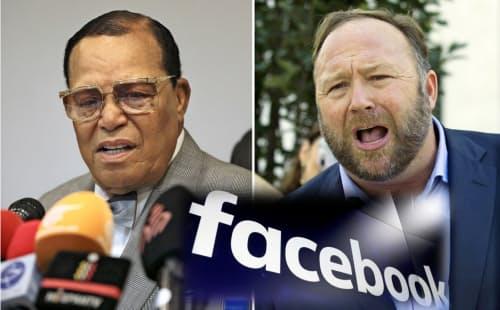超保守派メディアを運営するアレックス・ジョーンズ氏(右)とアフリカ系アメリカ人によるイスラム運動組織を率いるルイス・ファラカーン氏=AP