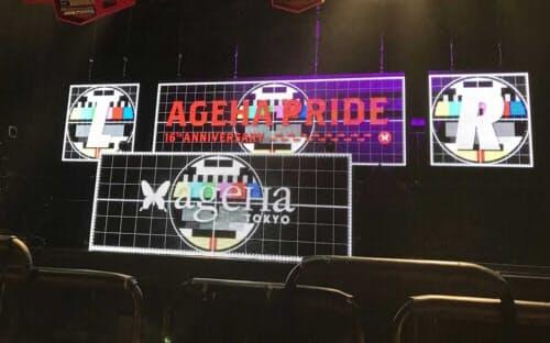 2018年11月に都内のライブ会場で実証実験したときの様子。DJブースの両サイドにカメラを設置して観客を撮影した(写真=エイベックス)