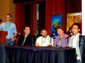 カジュアルコネクトシアトルで行われた「デジタルカードゲーム」についてのセッションの様子。右端が荒木英士氏、右から4番目がデビットマーシャル氏