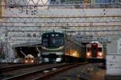 東急多摩川線・池上線のターミナル、蒲田駅を望む。右側2本の線路が多摩川線、左側2本が池上線で、両線を行き来できる渡り線も備える(写真:大野 雅人)