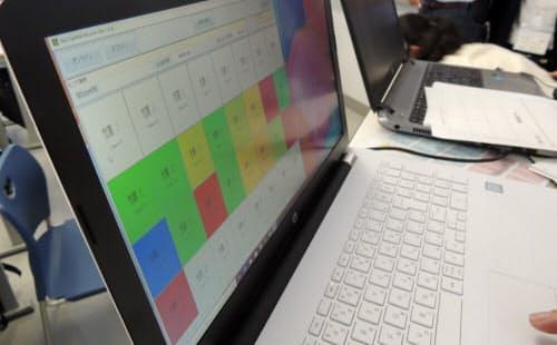 脳の活動具合をリアルタイムで色別に表示。先生は授業の理解の度合いの参考にする