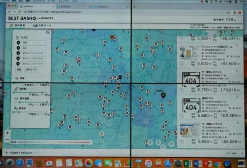 BEST BASHOを使った物件検索のデモ画面。青色が濃いほど各駅への利便性が高い