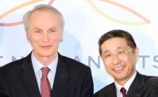 日産の株主総会を前にルノーが揺さぶりをかけた(左がルノーのジャンドミニク・スナール会長、右が日産の西川広人社長兼CEO)