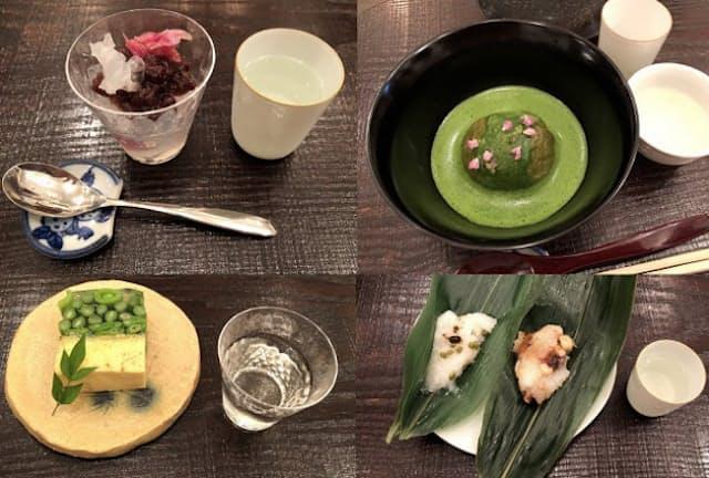 「和菓子 薫風」では和菓子と日本酒のペアリングを楽しむことができる