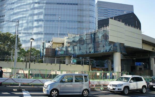 汐留では環状2号の工事のため、首都高の高架が一時的に撤去された