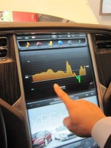 車内で目につくのが17インチの大画面液晶パネル。画面にタッチすると音楽・映像プレイヤーに早変わり