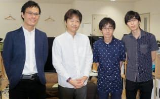 首藤研究室のメンバー。左から坂野遼平研究員、首藤一幸准教授、永山流之介氏、大月魁氏