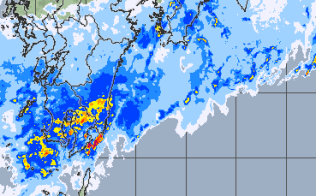 梅雨前線の活動が一段と活発になっている(午後3時25分時点、気象庁のホームページより)