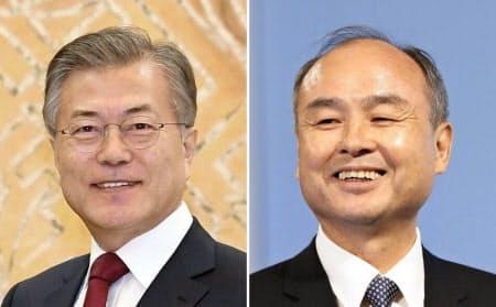 ソフトバンクグループの孫正義会長兼社長(右)は韓国の文在寅大統領と会談する=共同
