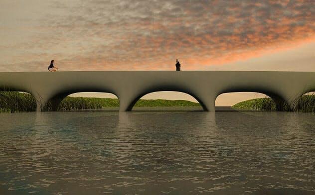 3Dプリンター橋の完成イメージ((資料:ヴァン・デル・クレイ氏/ピム・フェイエン)