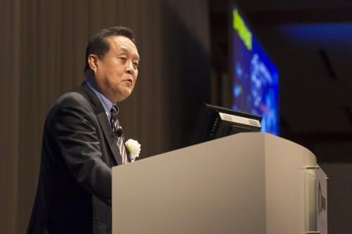 IT Japan 2019で講演するニチガスの和田眞治社長(写真:井上裕康)
