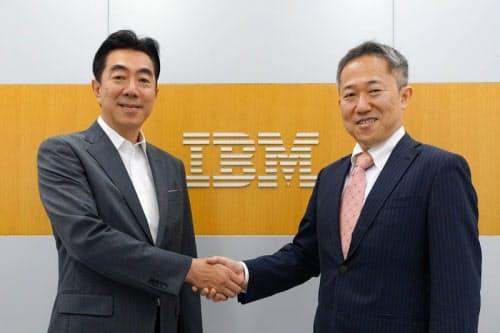 Quemixの竹沢聡志最高経営責任者(CEO、右)と日本IBMの森本典繁執行役員(出所:テラスカイ)