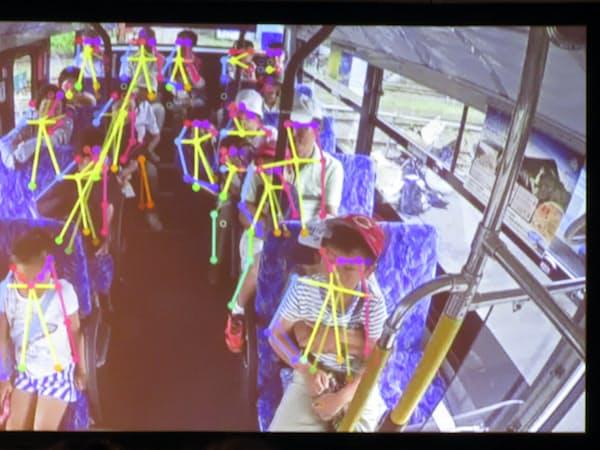 車内の様子をAIで画像解析する。人の動きをリアルタイムで把握し、より安全に停止できるタイミングでブレーキをかける(撮影:森元美稀)