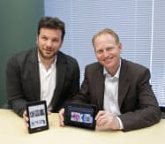 写真 米Amazon.comのラス・グランディネッティ Kindleコンテンツ事業部バイスプレジデント(写真左)とデーヴ・リンプ Kindleデバイス事業部バイスプレジデント(写真右) 撮影:陶山勉